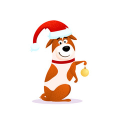 happy cartoon dog with christmas decoration vector image vector image