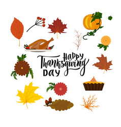 happy thanksgiving day hand drawing lettering vector image