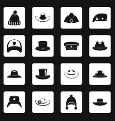 Headdress hat icons set squares vector