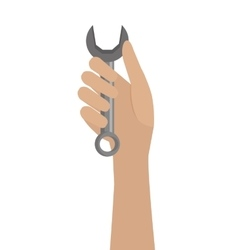 human hand and grey tool graphic vector image