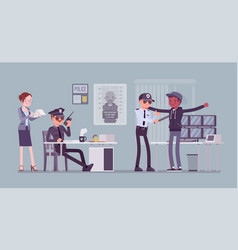 Inspection process in police station vector