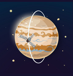 Jupiter and spacecraft art vector