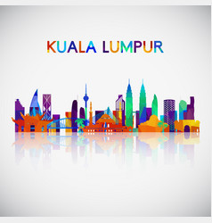 kuala lumpur skyline silhouette in colorful vector image