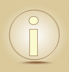 letter i lowercase round golden icon on light vector image