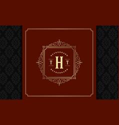 Luxury logo template golden vintage vector