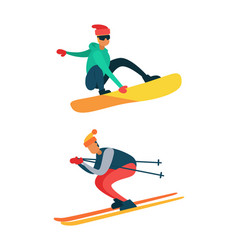 man snowboarding riding down on skis winter sport vector image