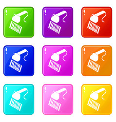 market code scanner icons set 9 color collection vector image
