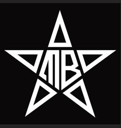 Mb logo monogram with star shape design template vector