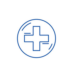 medical cross line icon concept medical cross vector image