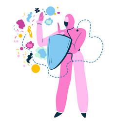 medical worker wearing hazmat suit with shield vector image