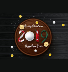 merry christmas and happy new year beautiful vector image