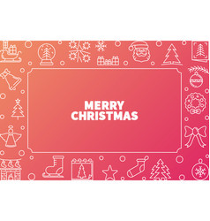 merry christmas cute outline horizontal vector image