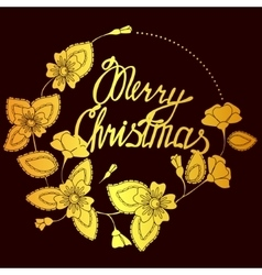 Merry christmas lettering in floral frame vector