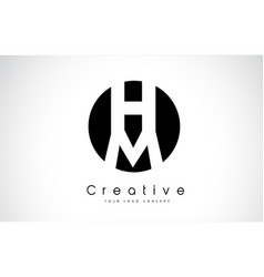 mh letter logo design inside a black circle vector image