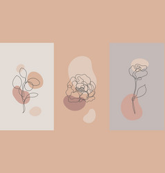 Minimalist style plants rose line flower vector
