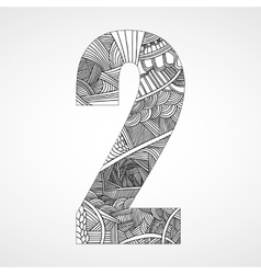 Number 2 with hand drawn abstract doodle pattern vector