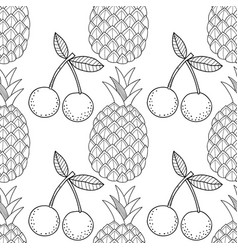 pineapples and cherry seamless pattern with hand vector image