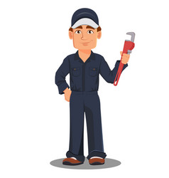 Professional auto mechanic or plumber in uniform vector
