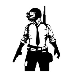 Pubg player black and white image vector