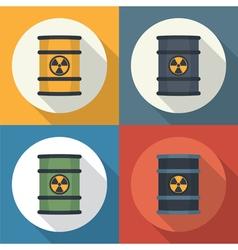 Radioactive barrel set icon vector image