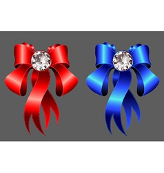 Red and blue ribbons with diamond jewel EPS10 vector
