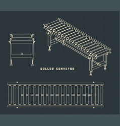 Roller conveyor drawings vector