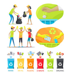 rubbish collecting and sorting vector image