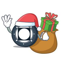 Santa with gift byteball bytes coin mascot cartoon vector