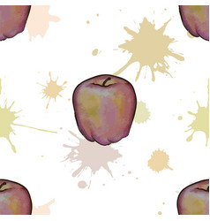 seamless pattern with watercolor apples vector image
