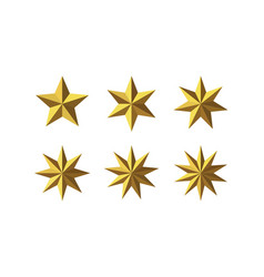 Set of beautiful faceted shiny golden metal stars vector