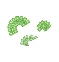set of green dollar paper banknotes in fans vector image