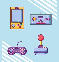 set of retro videogames cartoons vector image
