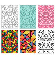 set of seamless pattern in traditional mosiac vector image