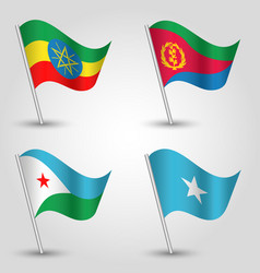 Set of waving flags east africa horn vector