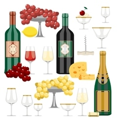 set of wine and food vector image