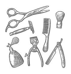 set tool for barbershop black vintage vector image