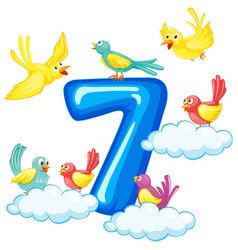 Seven birds on number vector
