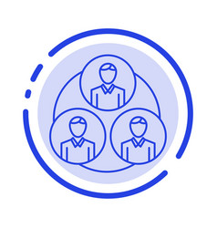 Staff gang clone circle blue dotted line line icon vector