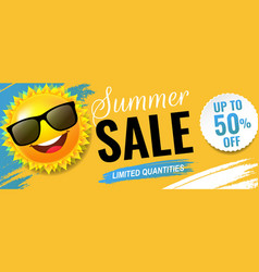 summer sale poster with text and sun vector image