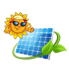Sun energy concept with cartoon sun character vector