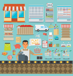 Supermarket online website concept with food vector