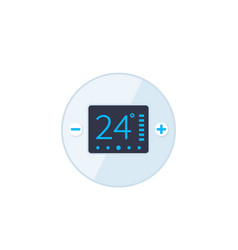 Thermostat temperature control icon flat style vector