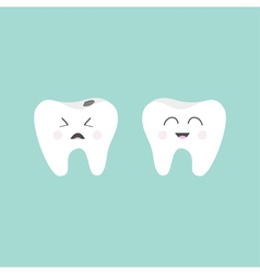 tooth icon healthy smiling crying bad ill vector image