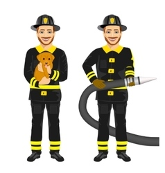 Two happy firemen working holding hose and dog vector