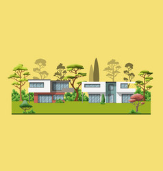 two modern family houses with trees vector image