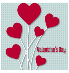 valentines day card with hearts and pattern light vector image