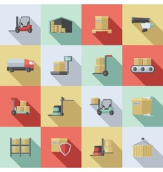 Warehouse Flat Icons Set vector image