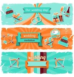 Wedding invitation horizontal banners in retro vector