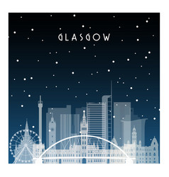 winter night in glasgow night city in flat style vector image