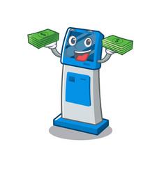 With money bag information digital kiosk isolated vector